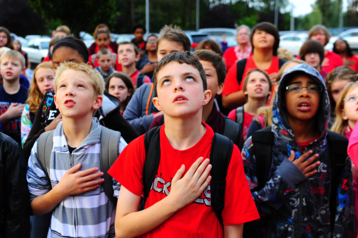 Kids Reciting the Pledge of Allegiance; We Shouldn't Force Kids to Recite the Pledge