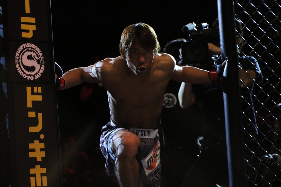 mma fighter entering the cage, try this weightless mma workout